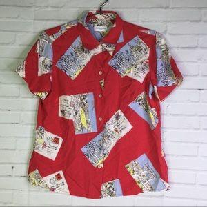 Liz Claiborne Petite Size S Silk Postcard Red Top